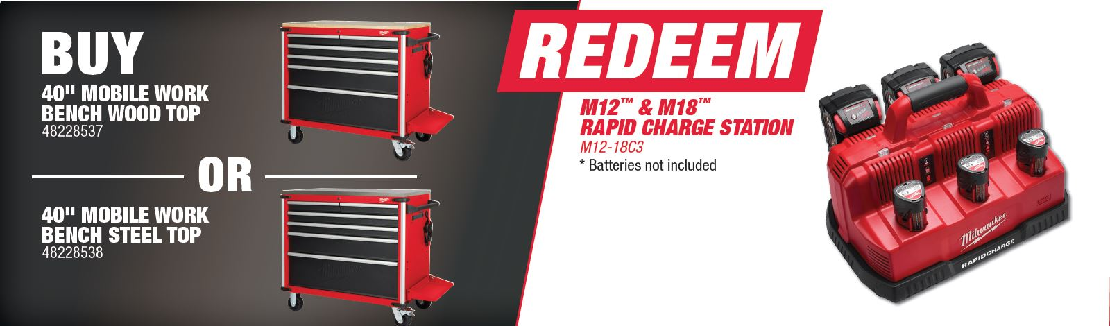 Buy Milwaukee 48228537 or 482228538 and Redeem M12-18C3