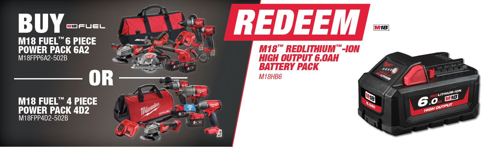 Buy Milwaukee M18FPP6A2-502B or M18FPP4D2-502B and Redeem M18HB6