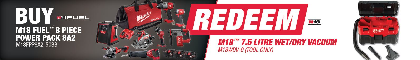 Buy Milwaukee M18FPP8A2-503B and Redeem M18WDV-0